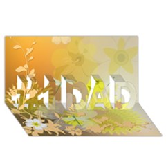 Beautiful Yellow Flowers With Dragonflies #1 DAD 3D Greeting Card (8x4)