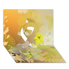 Beautiful Yellow Flowers With Dragonflies Ribbon 3D Greeting Card (7x5)