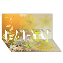 Beautiful Yellow Flowers With Dragonflies Party 3d Greeting Card (8x4)