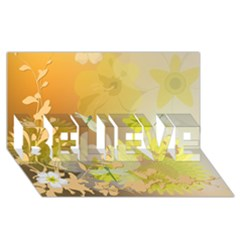 Beautiful Yellow Flowers With Dragonflies BELIEVE 3D Greeting Card (8x4)