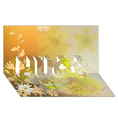 Beautiful Yellow Flowers With Dragonflies Hugs 3d Greeting Card (8x4)