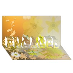Beautiful Yellow Flowers With Dragonflies ENGAGED 3D Greeting Card (8x4)
