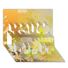 Beautiful Yellow Flowers With Dragonflies You Did It 3D Greeting Card (7x5)