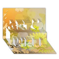 Beautiful Yellow Flowers With Dragonflies Get Well 3D Greeting Card (7x5)