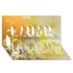 Beautiful Yellow Flowers With Dragonflies Laugh Live Love 3D Greeting Card (8x4)