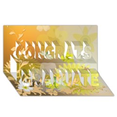 Beautiful Yellow Flowers With Dragonflies Congrats Graduate 3D Greeting Card (8x4)