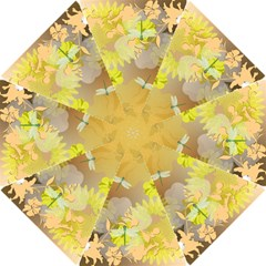 Beautiful Yellow Flowers With Dragonflies Hook Handle Umbrellas (small)