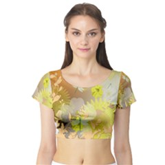 Beautiful Yellow Flowers With Dragonflies Short Sleeve Crop Top