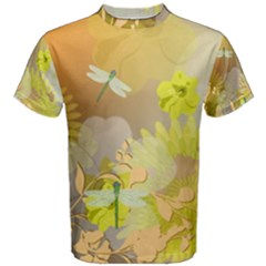 Beautiful Yellow Flowers With Dragonflies Men s Cotton Tees