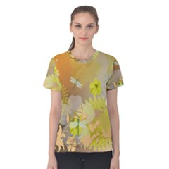 Beautiful Yellow Flowers With Dragonflies Women s Cotton Tees