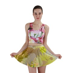 Beautiful Yellow Flowers With Dragonflies Mini Skirts