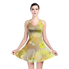 Beautiful Yellow Flowers With Dragonflies Reversible Skater Dresses