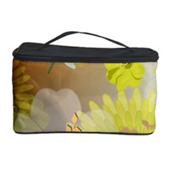 Beautiful Yellow Flowers With Dragonflies Cosmetic Storage Cases