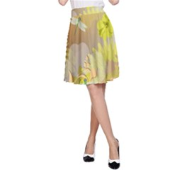 Beautiful Yellow Flowers With Dragonflies A-Line Skirts