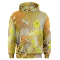 Beautiful Yellow Flowers With Dragonflies Men s Pullover Hoodies