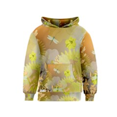 Beautiful Yellow Flowers With Dragonflies Kid s Pullover Hoodies