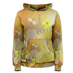 Beautiful Yellow Flowers With Dragonflies Women s Pullover Hoodies