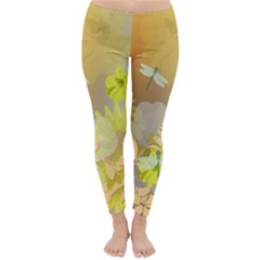 Beautiful Yellow Flowers With Dragonflies Winter Leggings