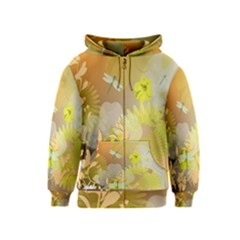 Beautiful Yellow Flowers With Dragonflies Kids Zipper Hoodies