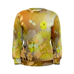 Beautiful Yellow Flowers With Dragonflies Women s Sweatshirts