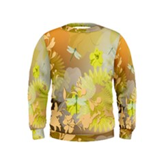 Beautiful Yellow Flowers With Dragonflies Boys  Sweatshirts