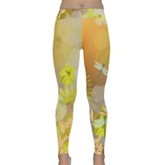 Beautiful Yellow Flowers With Dragonflies Yoga Leggings