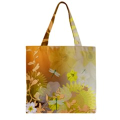 Beautiful Yellow Flowers With Dragonflies Zipper Grocery Tote Bags