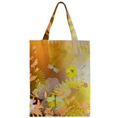 Beautiful Yellow Flowers With Dragonflies Zipper Classic Tote Bags