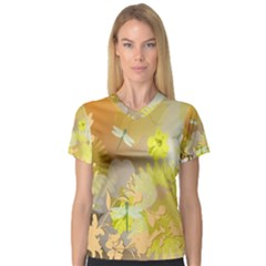 Beautiful Yellow Flowers With Dragonflies Women s V-Neck Sport Mesh Tee
