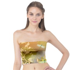 Beautiful Yellow Flowers With Dragonflies Women s Tube Tops