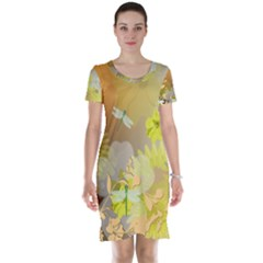 Beautiful Yellow Flowers With Dragonflies Short Sleeve Nightdresses
