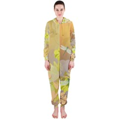 Beautiful Yellow Flowers With Dragonflies Hooded Jumpsuit (Ladies)