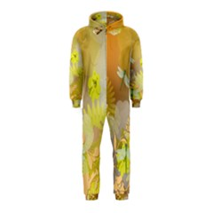Beautiful Yellow Flowers With Dragonflies Hooded Jumpsuit (Kids)