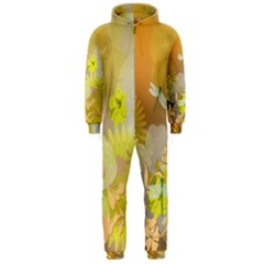 Beautiful Yellow Flowers With Dragonflies Hooded Jumpsuit (Men)