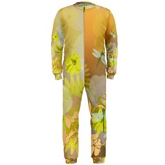 Beautiful Yellow Flowers With Dragonflies Onepiece Jumpsuit (men)