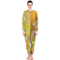 Beautiful Yellow Flowers With Dragonflies Onepiece Jumpsuit (ladies)
