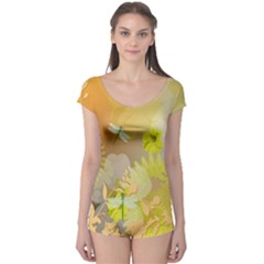 Beautiful Yellow Flowers With Dragonflies Short Sleeve Leotard