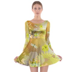 Beautiful Yellow Flowers With Dragonflies Long Sleeve Skater Dress