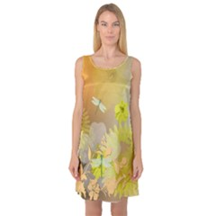 Beautiful Yellow Flowers With Dragonflies Sleeveless Satin Nightdresses