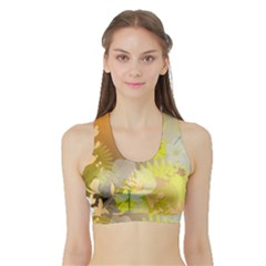 Beautiful Yellow Flowers With Dragonflies Women s Sports Bra with Border
