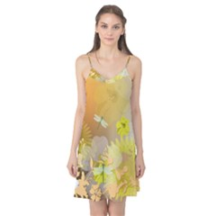 Beautiful Yellow Flowers With Dragonflies Camis Nightgown