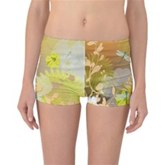 Beautiful Yellow Flowers With Dragonflies Reversible Boyleg Bikini Bottoms
