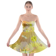 Beautiful Yellow Flowers With Dragonflies Strapless Bra Top Dress