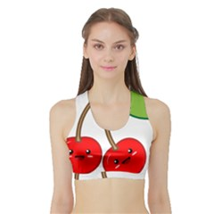 Kawaii Cherry Women s Sports Bra with Border