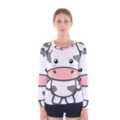 Kawaii Cow Women s Long Sleeve T Shirts