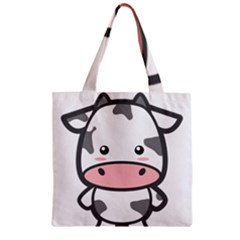 Kawaii Cow Zipper Grocery Tote Bags