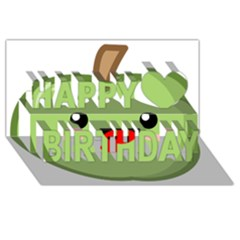 Kawaii Green Apple Happy Birthday 3D Greeting Card (8x4)