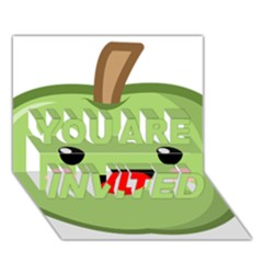 Kawaii Green Apple YOU ARE INVITED 3D Greeting Card (7x5)