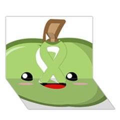 Kawaii Green Apple Ribbon 3D Greeting Card (7x5)