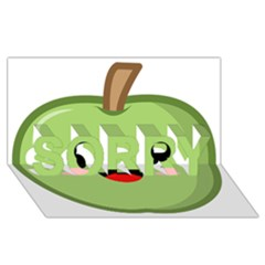 Kawaii Green Apple Sorry 3d Greeting Card (8x4)